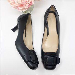 COLE HAAN Buckle Black Kitten Heel Pumps 8.5